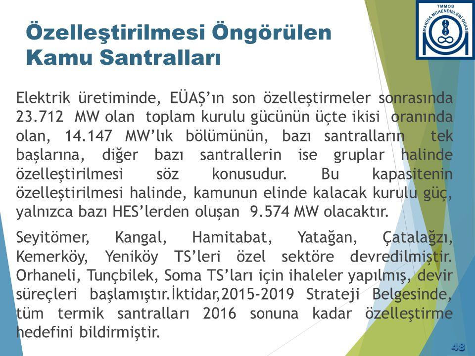 Özelleştirilmesi Öngörülen Kamu Santralları Elektrik üretiminde, EÜAŞ'ın son özelleştirmeler sonrasında 23.712 MW olan toplam kurulu gücünün üçte ikis