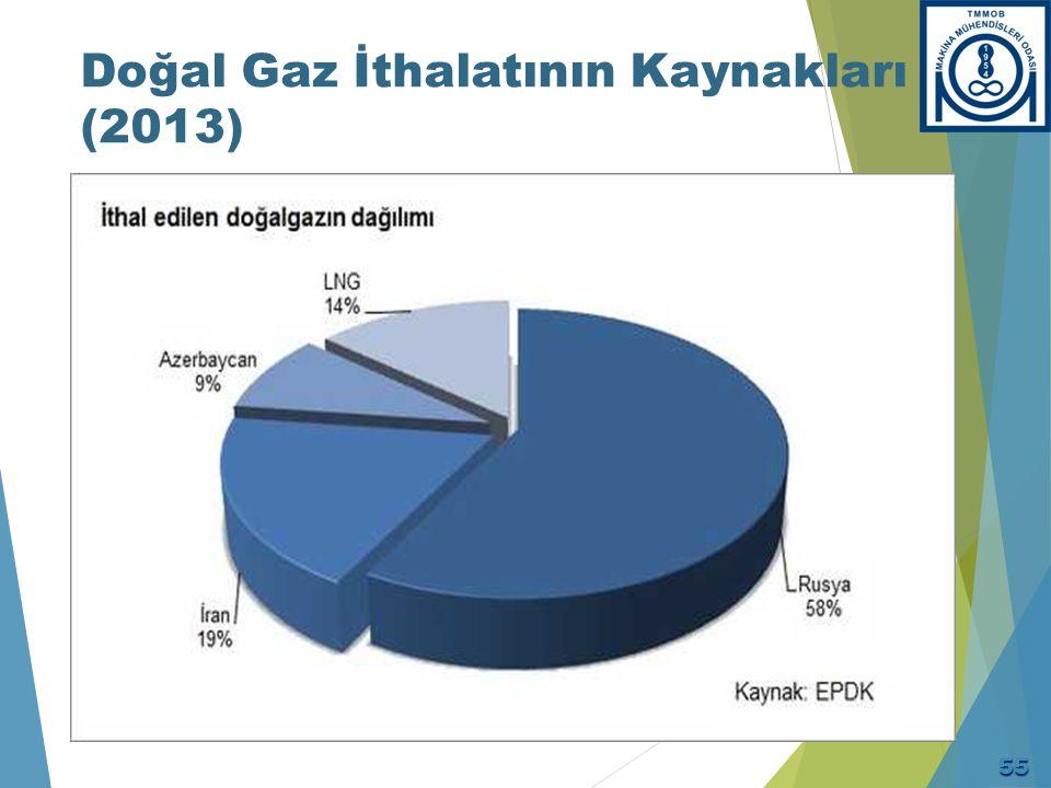 Doğal Gaz İthalatının Kaynakları (2013) 55