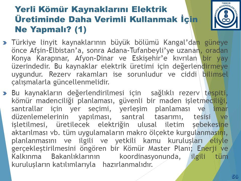 Yerli Kömür Kaynaklarını Elektrik Üretiminde Daha Verimli Kullanmak İçin Ne Yapmalı? (1) Türkiye linyit kaynaklarının büyük bölümü Kangal'dan güneye ö