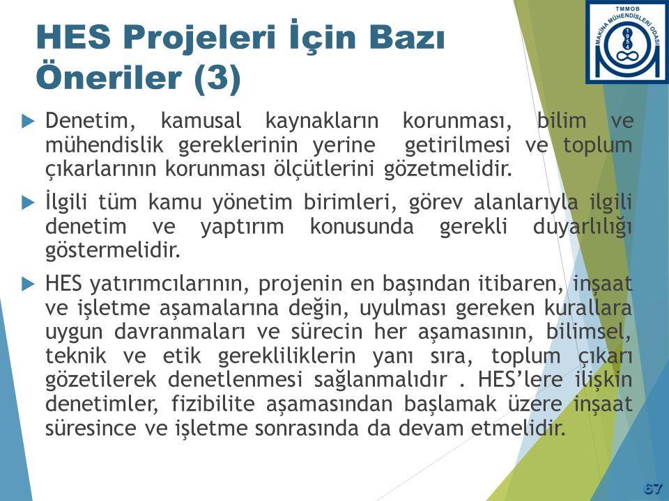 HES Projeleri İçin Bazı Öneriler (3)  Denetim, kamusal kaynakların korunması, bilim ve mühendislik gereklerinin yerine getirilmesi ve toplum çıkarlar