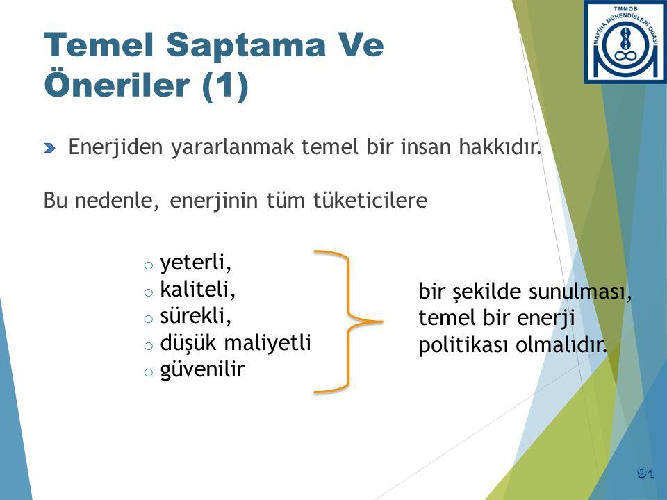 Temel Saptama Ve Öneriler (1) Enerjiden yararlanmak temel bir insan hakkıdır. Bu nedenle, enerjinin tüm tüketicilere o yeterli, o kaliteli, o sürekli,