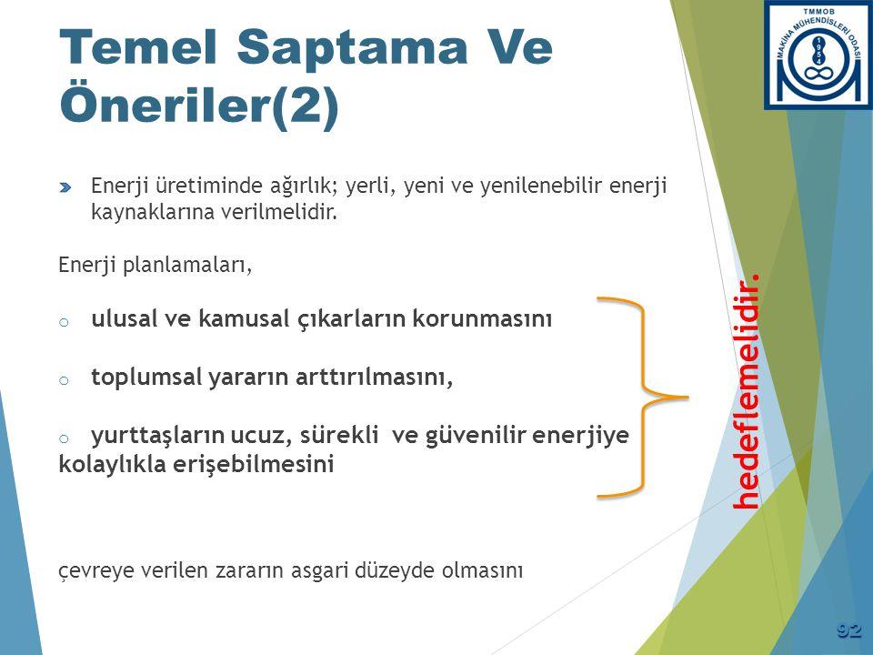 Temel Saptama Ve Öneriler(2) Enerji üretiminde ağırlık; yerli, yeni ve yenilenebilir enerji kaynaklarına verilmelidir. Enerji planlamaları, o ulusal v