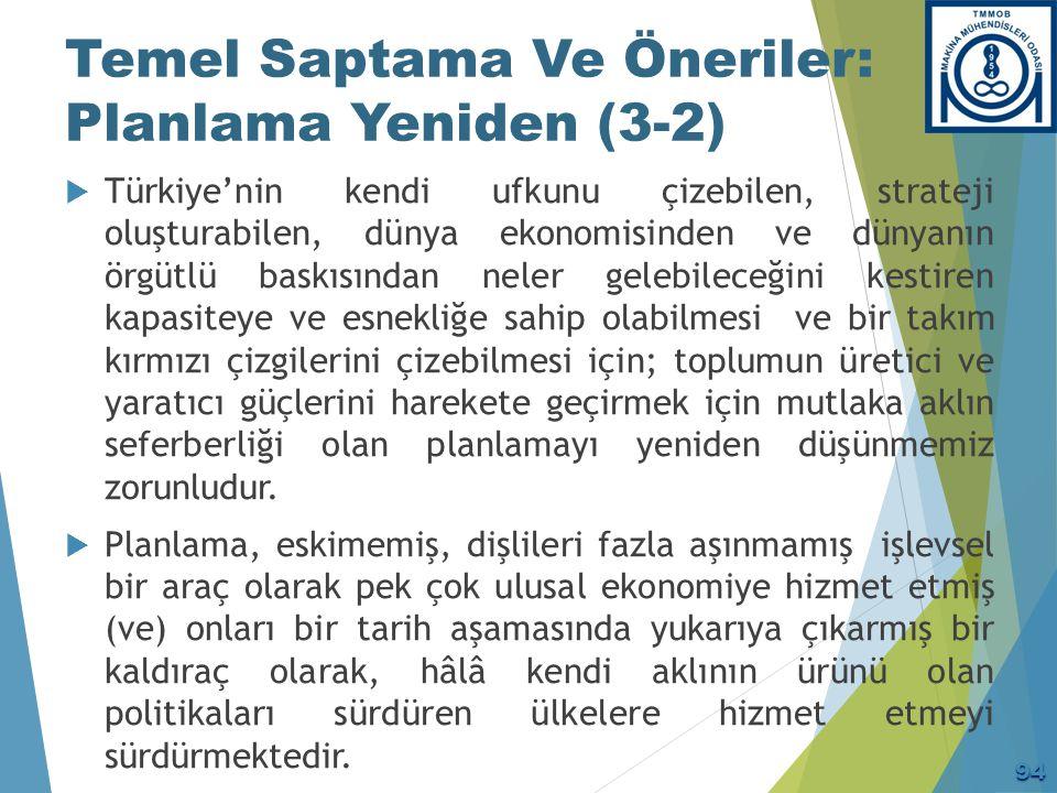 Temel Saptama Ve Öneriler: Planlama Yeniden (3-2)  Türkiye'nin kendi ufkunu çizebilen, strateji oluşturabilen, dünya ekonomisinden ve dünyanın örgütl