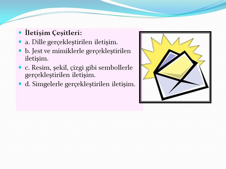 İletişim Çeşitleri: a. Dille gerçekleştirilen iletişim. b. Jest ve mimiklerle gerçekleştirilen iletişim. c. Resim, şekil, çizgi gibi sembollerle gerçe