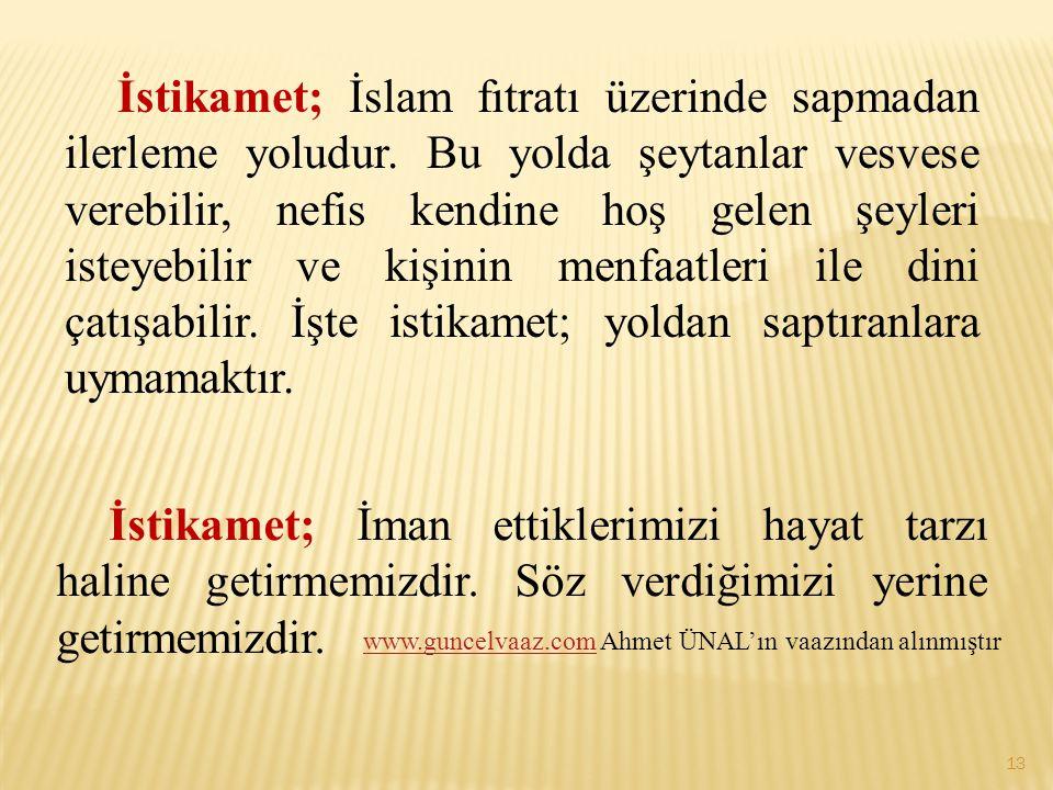 İstikamet; İslam fıtratı üzerinde sapmadan ilerleme yoludur. Bu yolda şeytanlar vesvese verebilir, nefis kendine hoş gelen şeyleri isteyebilir ve kişi