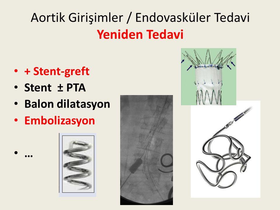 Aortik Girişimler / Endovasküler Tedavi Yeniden Tedavi + Stent-greft Stent ± PTA Balon dilatasyon Embolizasyon …