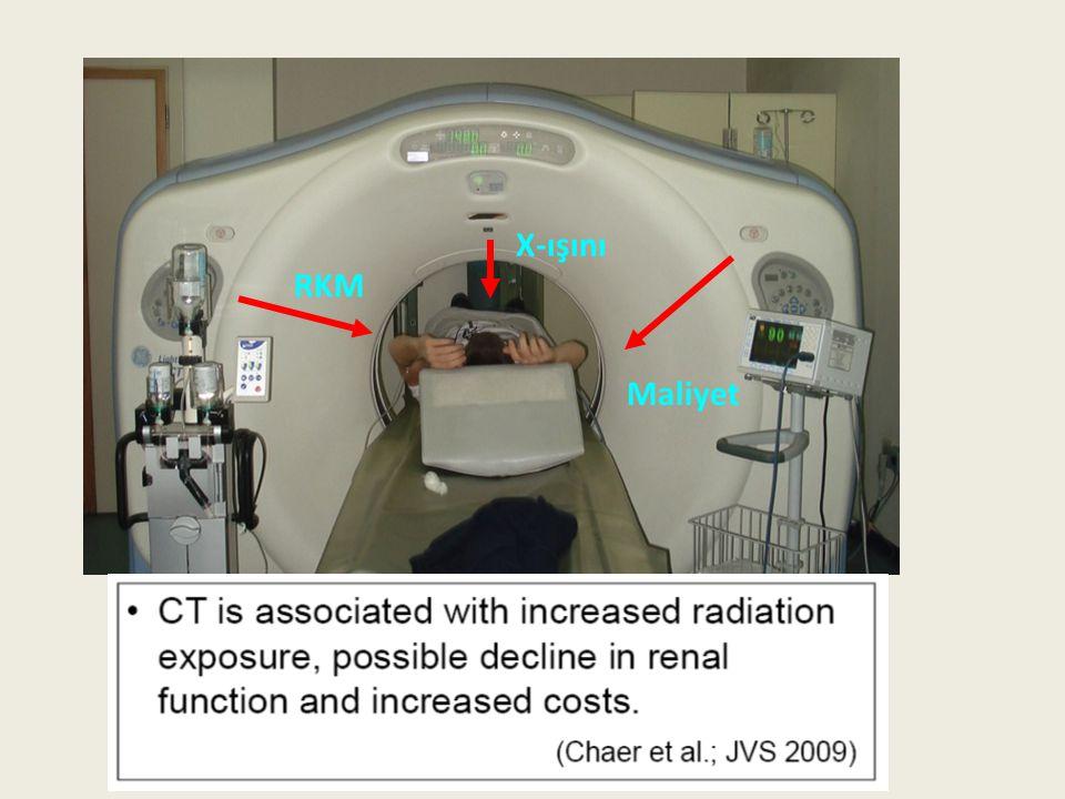 İyonizan Radyasyon Üç faz MDBT (Abdomen) ~ 10-30 mSv Fatal kanser riski: %5 / Sv (ICRP 60) + Fatal kanser riski: ~ %0.15 / BT ++ Diğer radyolojik incelemeler