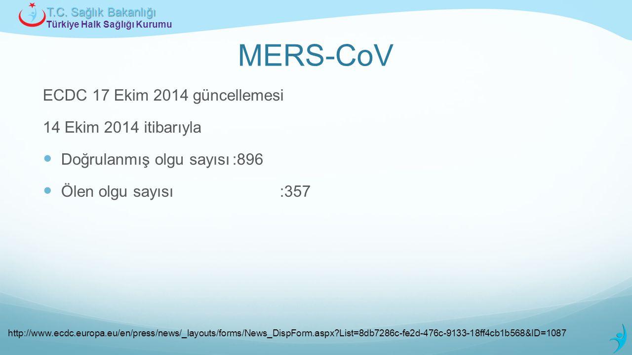 Türkiye Halk Sağlığı Kurumu T.C. Sağlık Bakanlığı MERS-CoV ECDC 17 Ekim 2014 güncellemesi 14 Ekim 2014 itibarıyla Doğrulanmış olgu sayısı:896 Ölen olg
