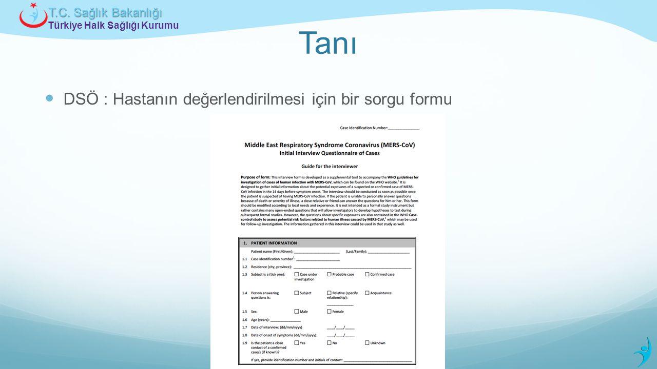 Türkiye Halk Sağlığı Kurumu T.C. Sağlık Bakanlığı Tanı DSÖ : Hastanın değerlendirilmesi için bir sorgu formu