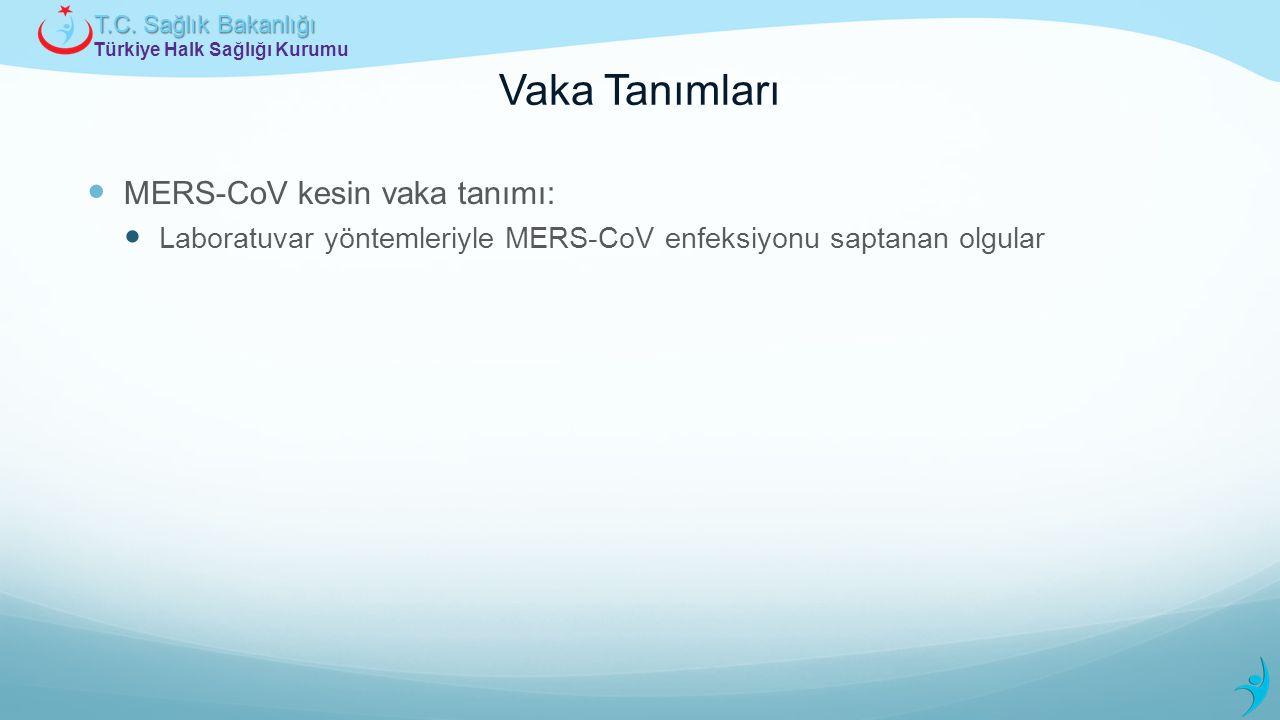 Türkiye Halk Sağlığı Kurumu T.C. Sağlık Bakanlığı Vaka Tanımları MERS-CoV kesin vaka tanımı: Laboratuvar yöntemleriyle MERS-CoV enfeksiyonu saptanan o
