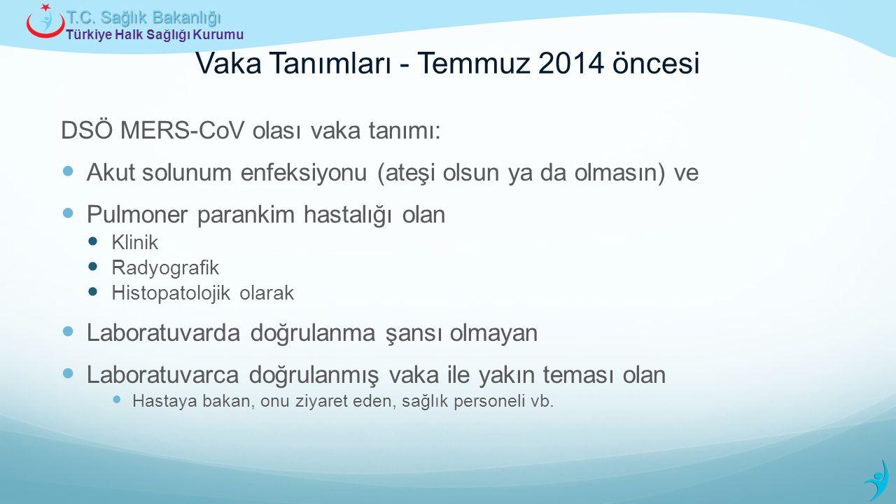 Türkiye Halk Sağlığı Kurumu T.C. Sağlık Bakanlığı Vaka Tanımları - Temmuz 2014 öncesi DSÖ MERS-CoV olası vaka tanımı: Akut solunum enfeksiyonu (ateşi