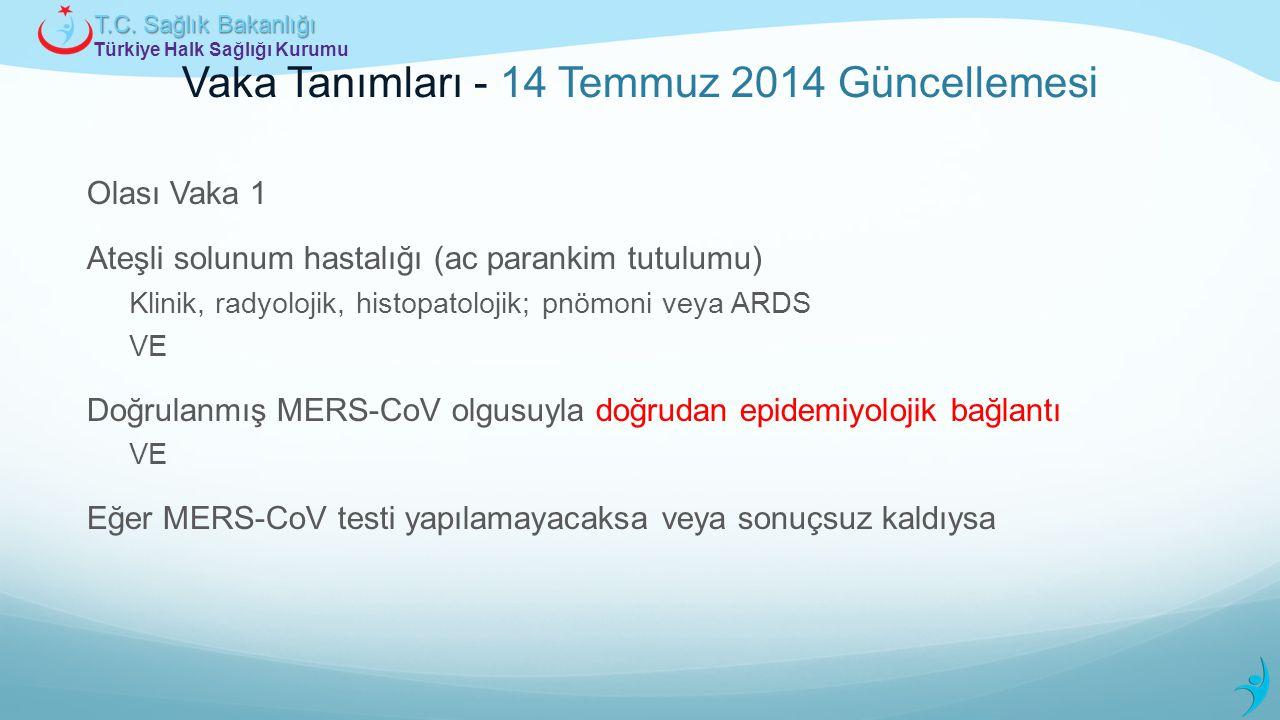 Türkiye Halk Sağlığı Kurumu T.C. Sağlık Bakanlığı Vaka Tanımları - 14 Temmuz 2014 Güncellemesi Olası Vaka 1 Ateşli solunum hastalığı (ac parankim tutu