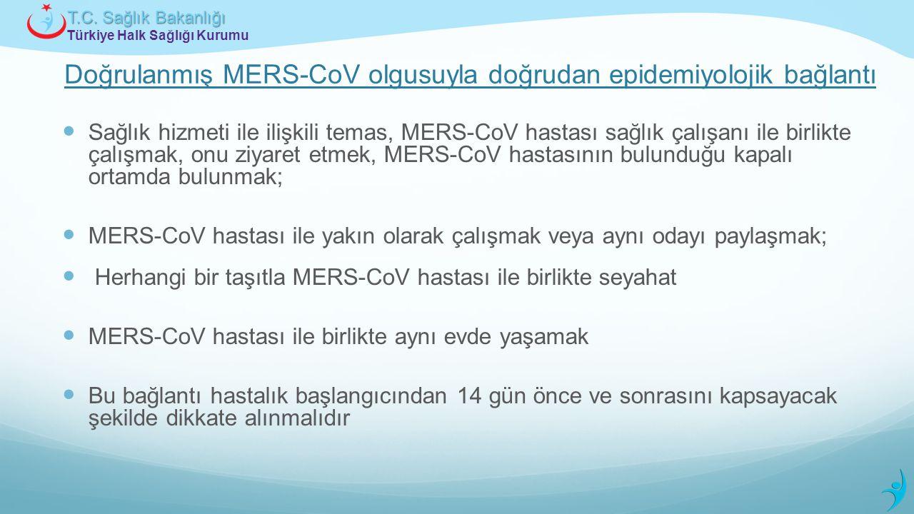 Türkiye Halk Sağlığı Kurumu T.C. Sağlık Bakanlığı Doğrulanmış MERS-CoV olgusuyla doğrudan epidemiyolojik bağlantı Sağlık hizmeti ile ilişkili temas, M