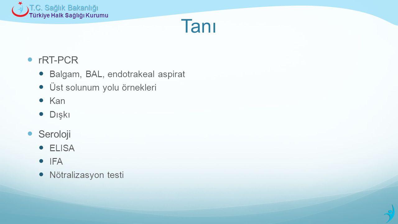 Türkiye Halk Sağlığı Kurumu T.C. Sağlık Bakanlığı Tanı rRT-PCR Balgam, BAL, endotrakeal aspirat Üst solunum yolu örnekleri Kan Dışkı Seroloji ELISA IF