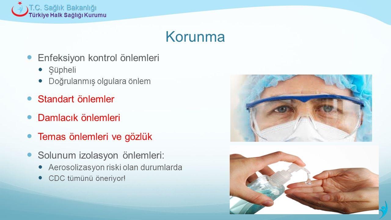 Türkiye Halk Sağlığı Kurumu T.C. Sağlık Bakanlığı Korunma Enfeksiyon kontrol önlemleri Şüpheli Doğrulanmış olgulara önlem Standart önlemler Damlacık ö
