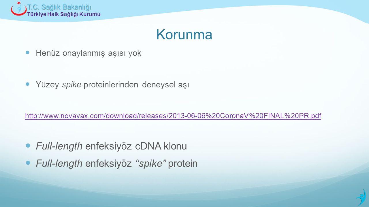 Türkiye Halk Sağlığı Kurumu T.C. Sağlık Bakanlığı Korunma Henüz onaylanmış aşısı yok Yüzey spike proteinlerinden deneysel aşı http://www.novavax.com/d