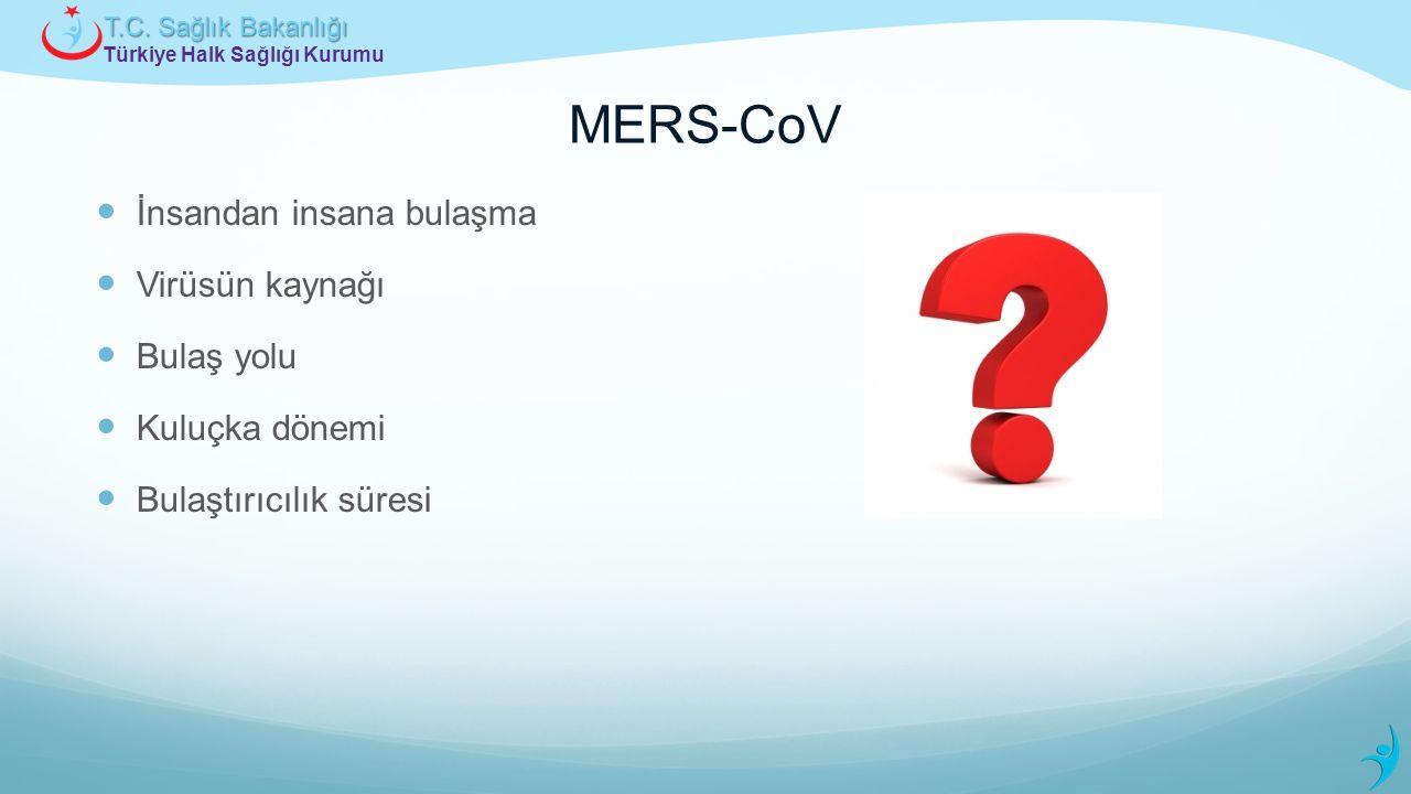 Türkiye Halk Sağlığı Kurumu T.C. Sağlık Bakanlığı MERS-CoV İnsandan insana bulaşma Virüsün kaynağı Bulaş yolu Kuluçka dönemi Bulaştırıcılık süresi