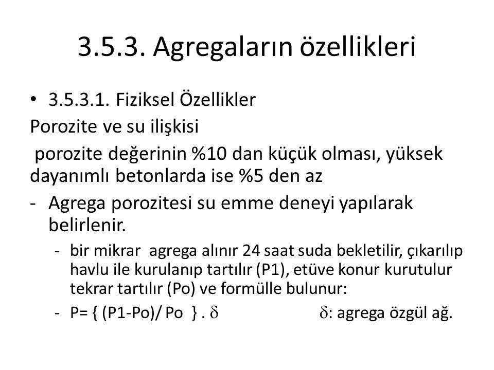 3.5.3. Agregaların özellikleri 3.5.3.1. Fiziksel Özellikler Porozite ve su ilişkisi porozite değerinin %10 dan küçük olması, yüksek dayanımlı betonlar
