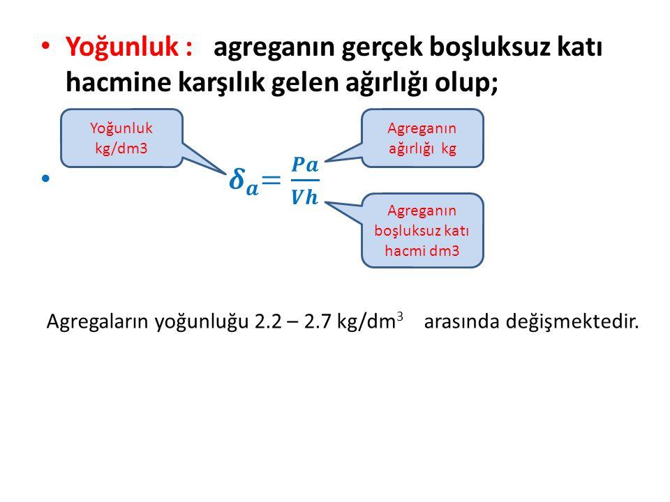 Yoğunluk kg/dm3 Agreganın ağırlığı kg Agreganın boşluksuz katı hacmi dm3 Agregaların yoğunluğu 2.2 – 2.7 kg/dm 3 arasında değişmektedir.