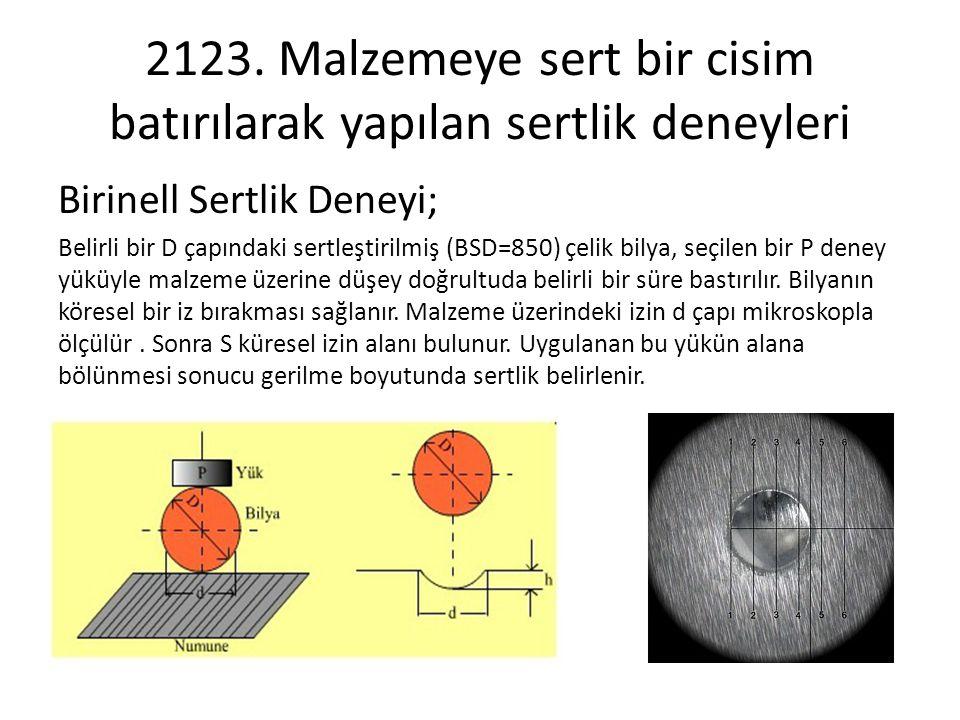 2123. Malzemeye sert bir cisim batırılarak yapılan sertlik deneyleri Birinell Sertlik Deneyi; Belirli bir D çapındaki sertleştirilmiş (BSD=850) çelik