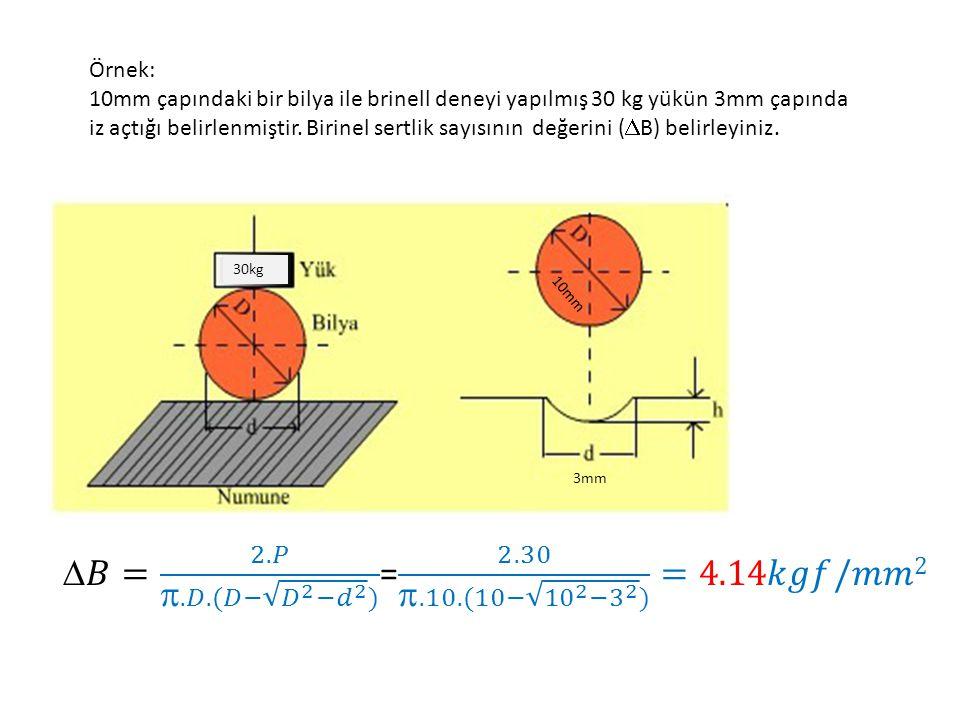 Örnek: 10mm çapındaki bir bilya ile brinell deneyi yapılmış 30 kg yükün 3mm çapında iz açtığı belirlenmiştir.