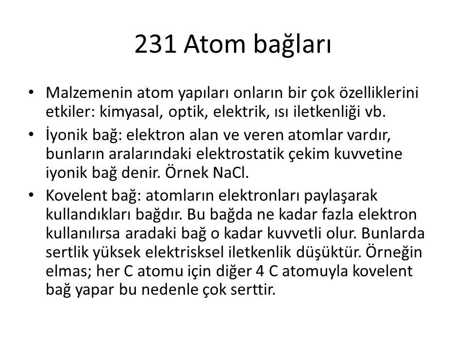 231 Atom bağları Malzemenin atom yapıları onların bir çok özelliklerini etkiler: kimyasal, optik, elektrik, ısı iletkenliği vb. İyonik bağ: elektron a