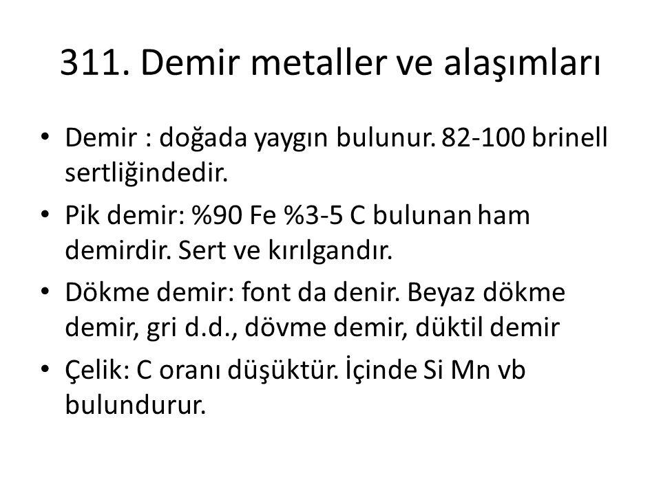 311.Demir metaller ve alaşımları Demir : doğada yaygın bulunur.