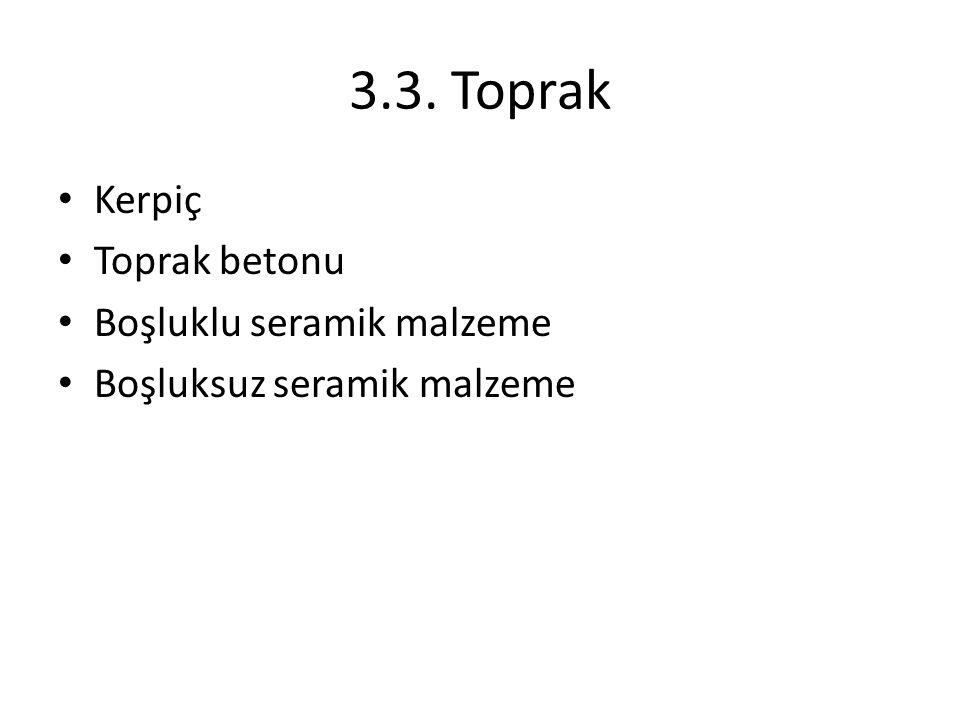 3.3. Toprak Kerpiç Toprak betonu Boşluklu seramik malzeme Boşluksuz seramik malzeme