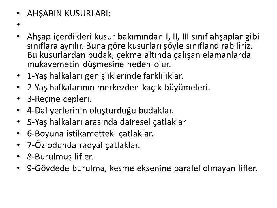 AHŞABIN KUSURLARI: Ahşap içerdikleri kusur bakımından I, II, III sınıf ahşaplar gibi sınıflara ayrılır.