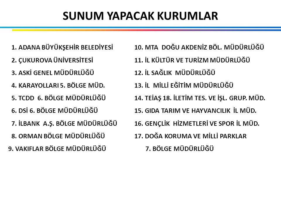 SUNUM YAPACAK KURUMLAR 1. ADANA BÜYÜKŞEHİR BELEDİYESİ 2.
