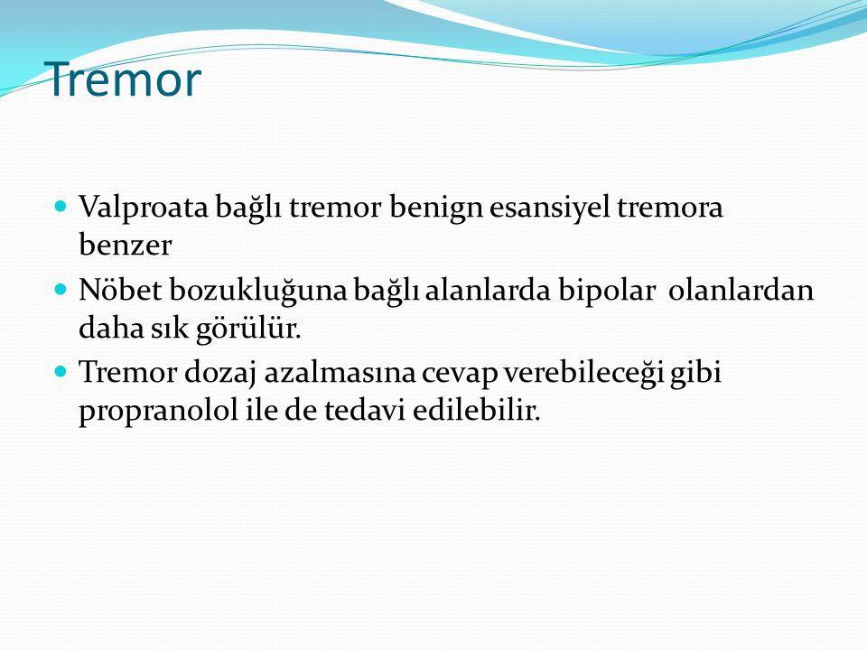Tremor Valproata bağlı tremor benign esansiyel tremora benzer Nöbet bozukluğuna bağlı alanlarda bipolar olanlardan daha sık görülür. Tremor dozaj azal