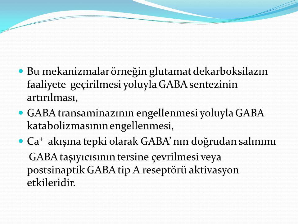 Bu mekanizmalar örneğin glutamat dekarboksilazın faaliyete geçirilmesi yoluyla GABA sentezinin artırılması, GABA transaminazının engellenmesi yoluyla