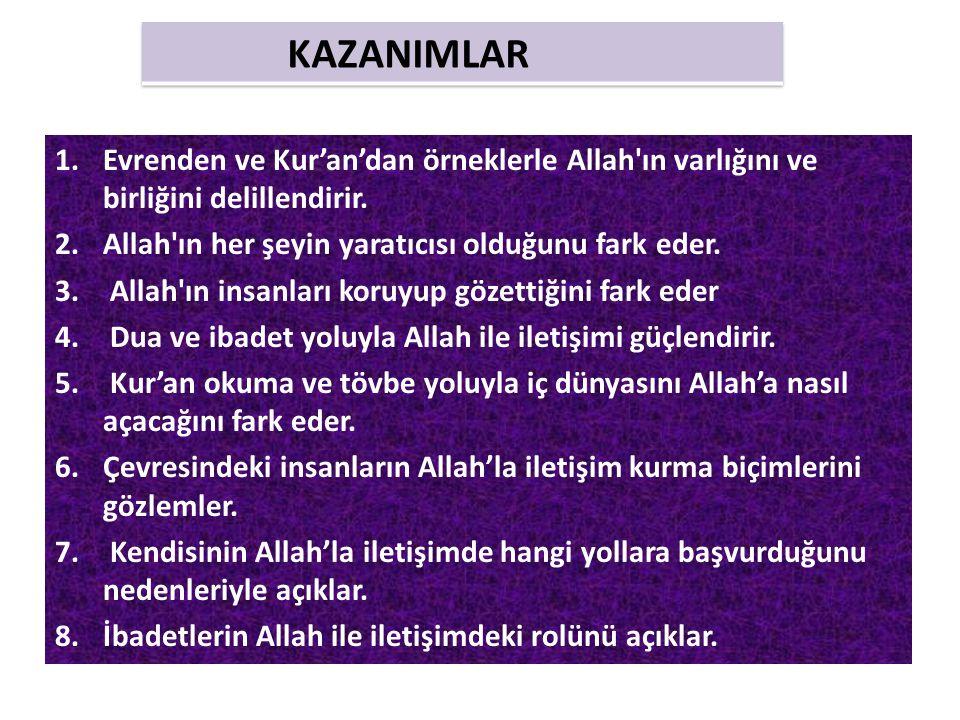 1.Evrenden ve Kur'an'dan örneklerle Allah'ın varlığını ve birliğini delillendirir. 2.Allah'ın her şeyin yaratıcısı olduğunu fark eder. 3. Allah'ın ins