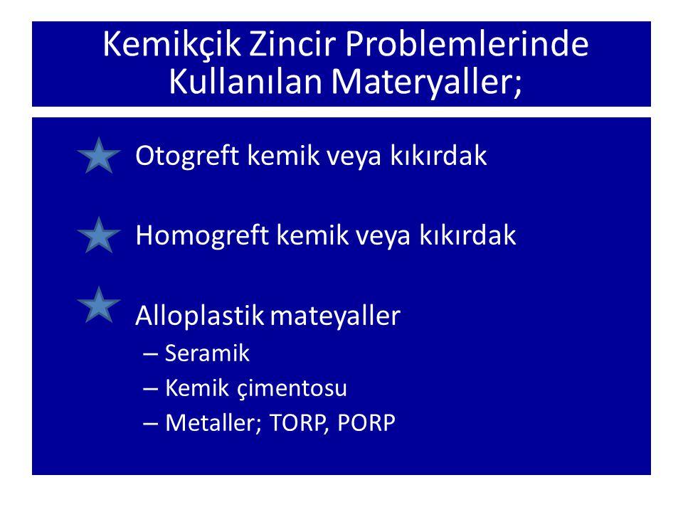 Kemikçik Zincir Problemlerinde Kullanılan Materyaller; Otogreft kemik veya kıkırdak Homogreft kemik veya kıkırdak Alloplastik mateyaller – Seramik – K