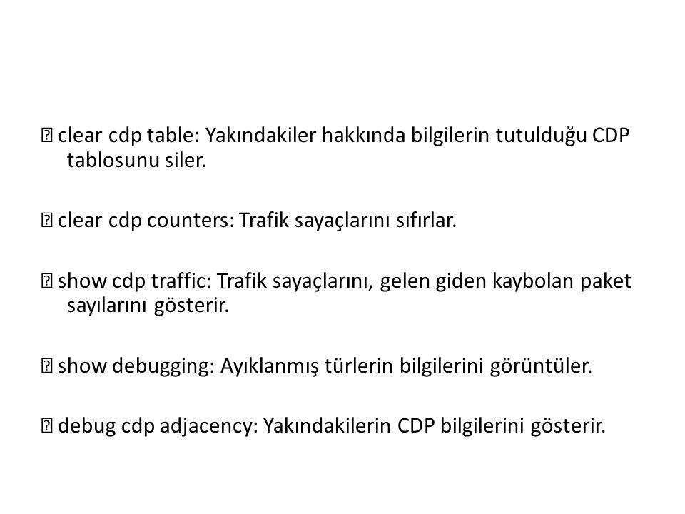  clear cdp table: Yakındakiler hakkında bilgilerin tutulduğu CDP tablosunu siler.