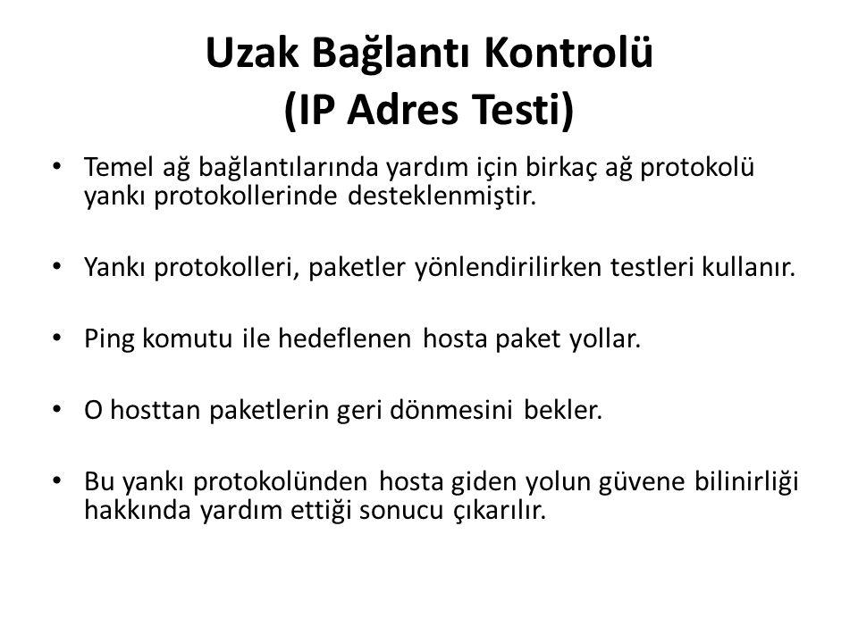 Uzak Bağlantı Kontrolü (IP Adres Testi) Temel ağ bağlantılarında yardım için birkaç ağ protokolü yankı protokollerinde desteklenmiştir.