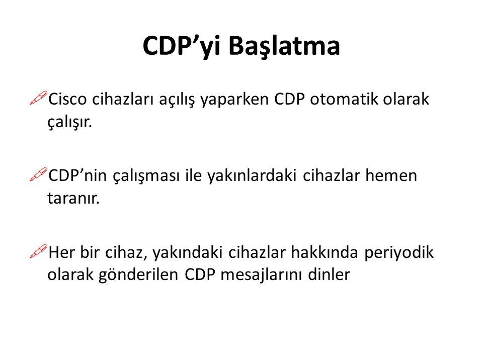 CDP'yi Başlatma  Cisco cihazları açılış yaparken CDP otomatik olarak çalışır.