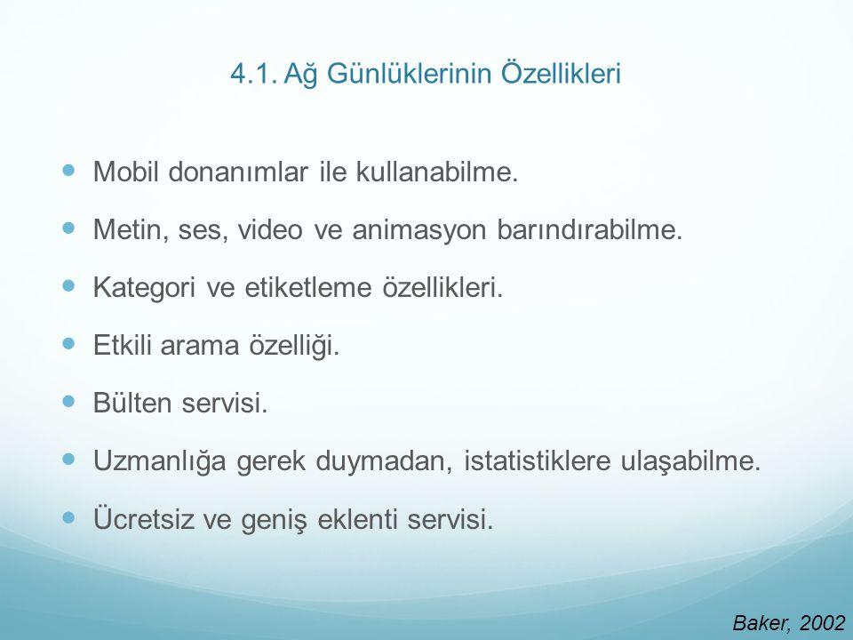 4.1. Ağ Günlüklerinin Özellikleri Mobil donanımlar ile kullanabilme.
