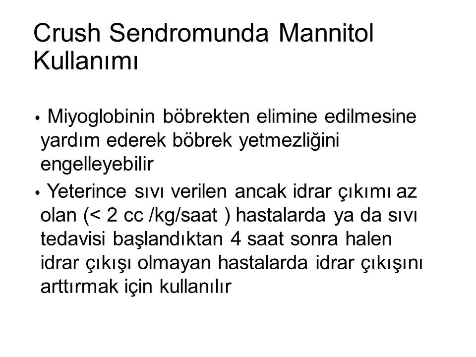 Crush Sendromunda Mannitol Kullanımı  Miyoglobinin böbrekten elimine edilmesine yardım ederek böbrek yetmezliğini engelleyebilir  Yeterince sıvı ver