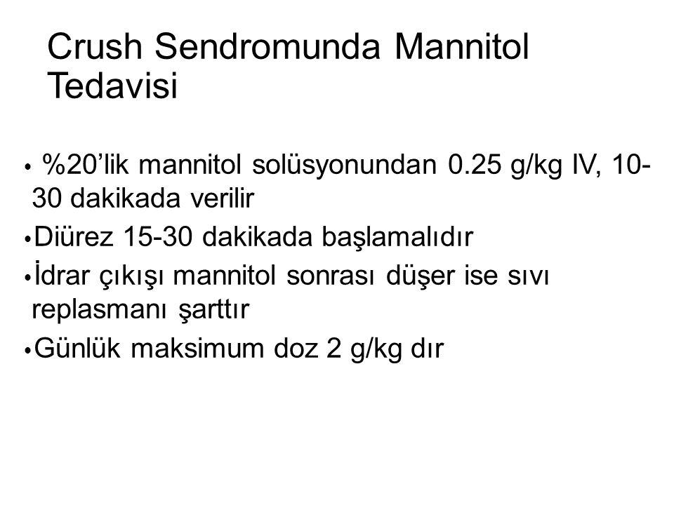 Crush Sendromunda Mannitol Tedavisi  %20'lik mannitol solüsyonundan 0.25 g/kg IV, 10- 30 dakikada verilir  Diürez 15-30 dakikada başlamalıdır  İdra