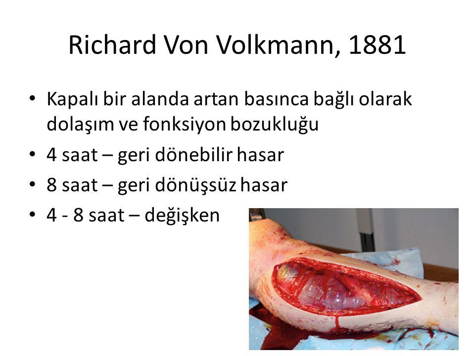 Richard Von Volkmann, 1881 Kapalı bir alanda artan basınca bağlı olarak dolaşım ve fonksiyon bozukluğu 4 saat – geri dönebilir hasar 8 saat – geri dön