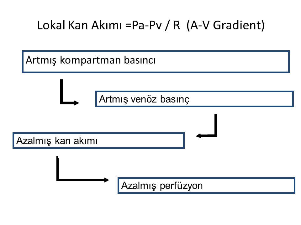 Lokal Kan Akımı =Pa-Pv / R (A-V Gradient) Artmış kompartman basıncı Artmış venöz basınç Azalmış kan akımı Azalmış perfüzyon