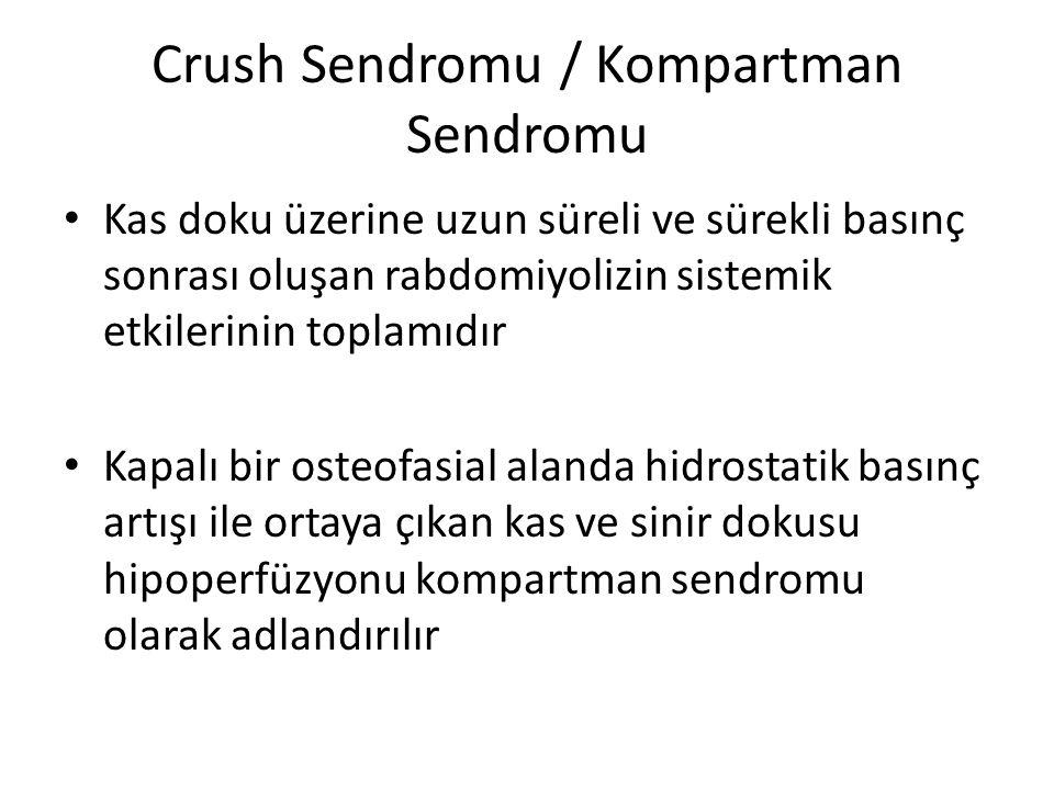Crush Sendromu / Kompartman Sendromu Kas doku üzerine uzun süreli ve sürekli basınç sonrası oluşan rabdomiyolizin sistemik etkilerinin toplamıdır Kapa