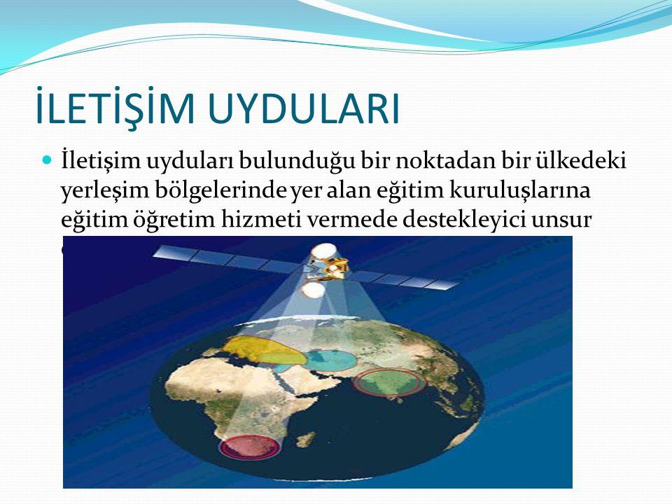 İLETİŞİM UYDULARI İletişim uyduları bulunduğu bir noktadan bir ülkedeki yerleşim bölgelerinde yer alan eğitim kuruluşlarına eğitim öğretim hizmeti ver