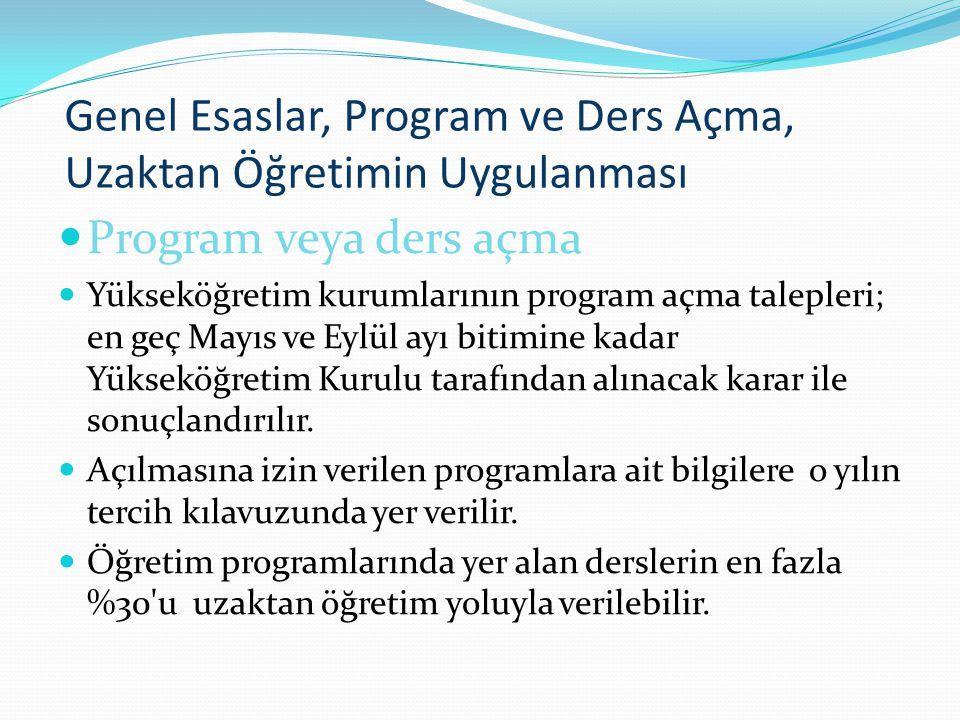 Genel Esaslar, Program ve Ders Açma, Uzaktan Öğretimin Uygulanması Program veya ders açma Yükseköğretim kurumlarının program açma talepleri; en geç Ma