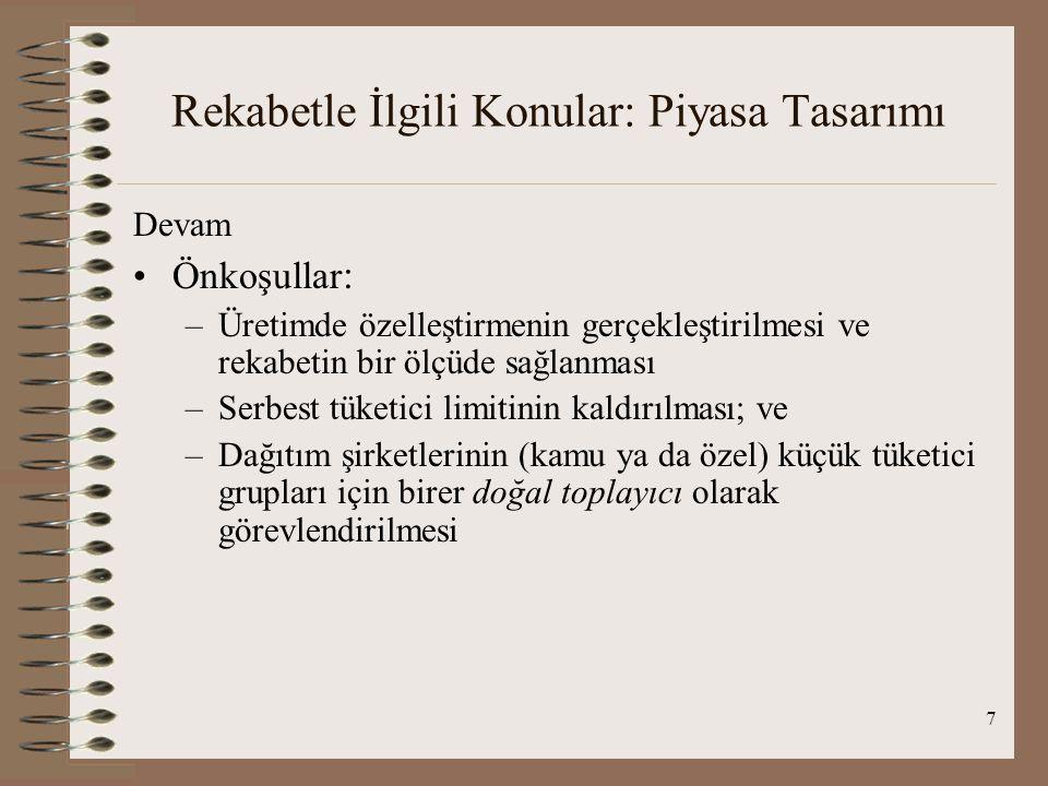 8 Rekabetle İlgili Konular: Yükümlenilen Maliyetler YİD ve Yİ projeleri –Tanım ve kapsam –Beklenen Yükümlenilen Maliyetler: Özelleştirme gerçekleşiyor  rekabetçi piyasa gerçekleşiyor  fiyatlar bugünkü seviyelerinden aşağıya düşüyor  yükümlenilen maliyetler konusu ortaya çıkıyor –Yükümlenilen maliyetler Türkiye'de üretimde rekabet için engel oluşturabilir mi.