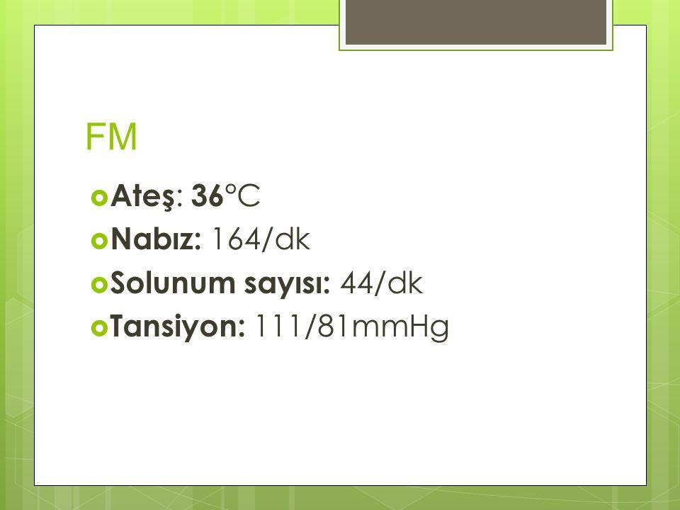 FM  Ateş : 36° C  Nabız: 164/dk  Solunum sayısı: 44/dk  Tansiyon: 111/81mmHg