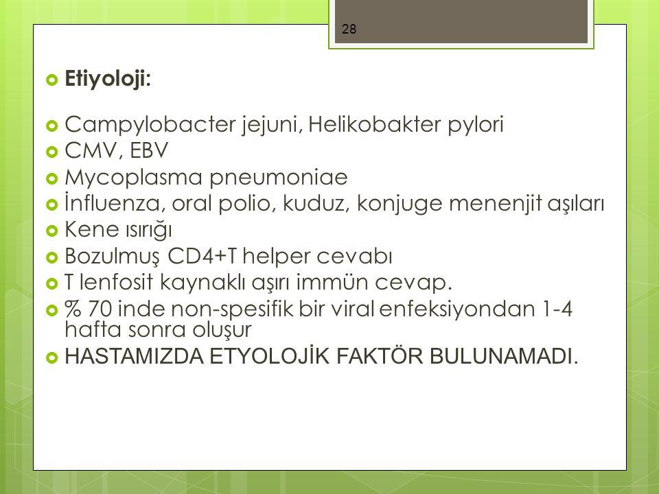  Etiyoloji:  Campylobacter jejuni, Helikobakter pylori  CMV, EBV  Mycoplasma pneumoniae  İnfluenza, oral polio, kuduz, konjuge menenjit aşıları  Kene ısırığı  Bozulmuş CD4+T helper cevabı  T lenfosit kaynaklı aşırı immün cevap.