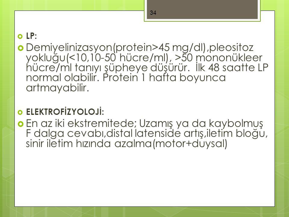  LP:  Demiyelinizasyon(protein>45 mg/dl),pleositoz yokluğu( 50 mononükleer hücre/ml tanıyı şüpheye düşürür.