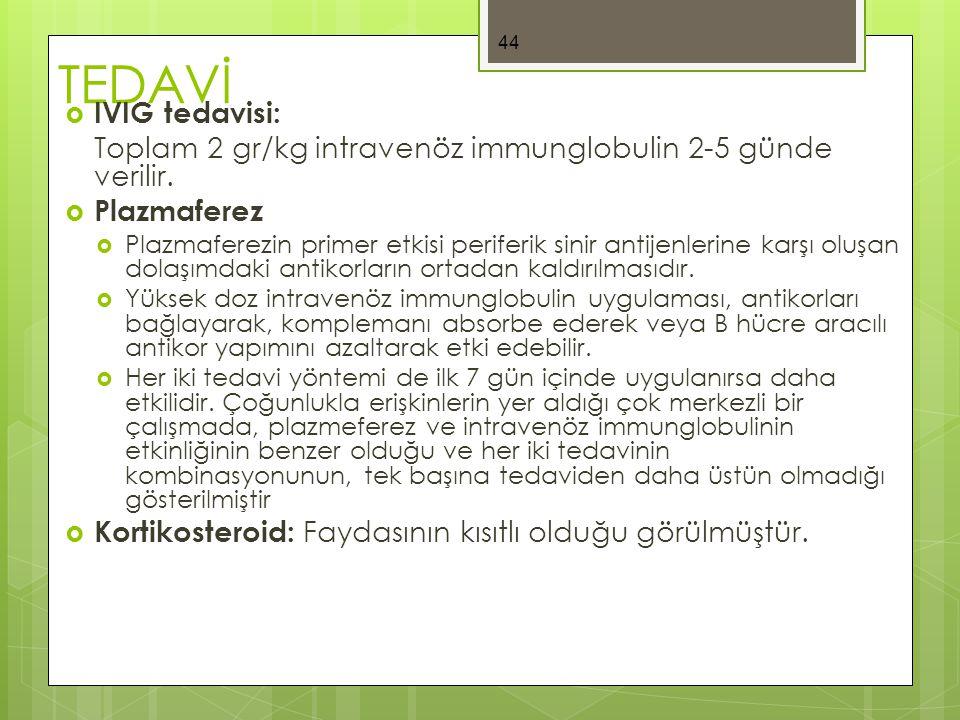 TEDAVİ  IVIG tedavisi: Toplam 2 gr/kg intravenöz immunglobulin 2-5 günde verilir.